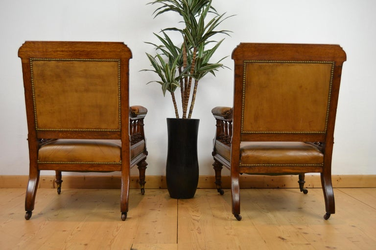 Two Leather Library Chairs, Leather Armchairs, Late 19th Century For Sale 8