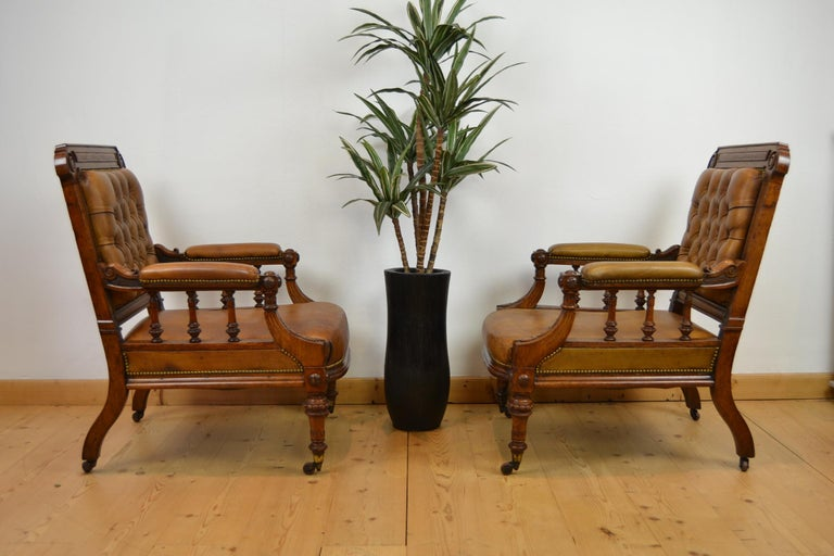 Two Leather Library Chairs, Leather Armchairs, Late 19th Century For Sale 9