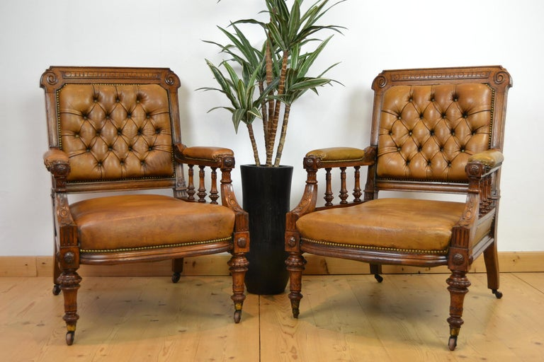 Two Leather Library Chairs, Leather Armchairs, Late 19th Century For Sale 10
