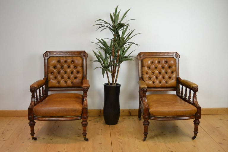 Two Leather Library Chairs, Leather Armchairs, Late 19th Century For Sale 11