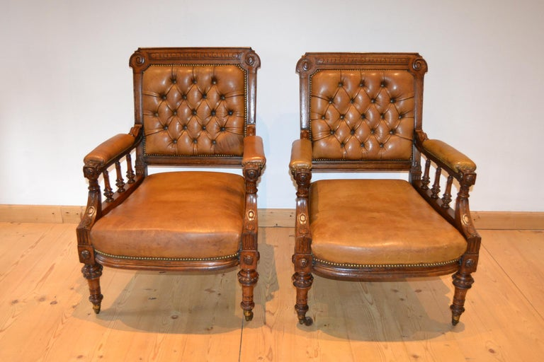 Two Leather Library Chairs, Leather Armchairs, Late 19th Century For Sale 12