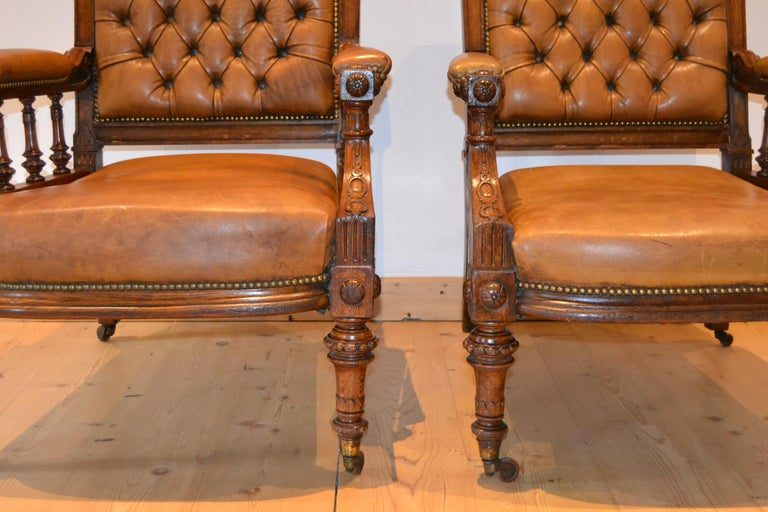 Two Leather Library Chairs, Leather Armchairs, Late 19th Century For Sale 13