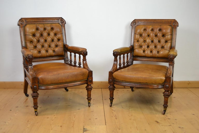 Two Leather Library Chairs, Leather Armchairs, Late 19th Century For Sale 14