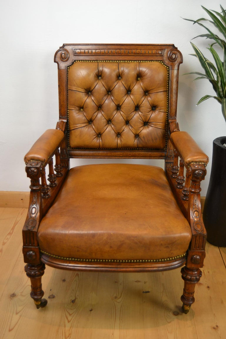 English Two Leather Library Chairs, Leather Armchairs, Late 19th Century For Sale
