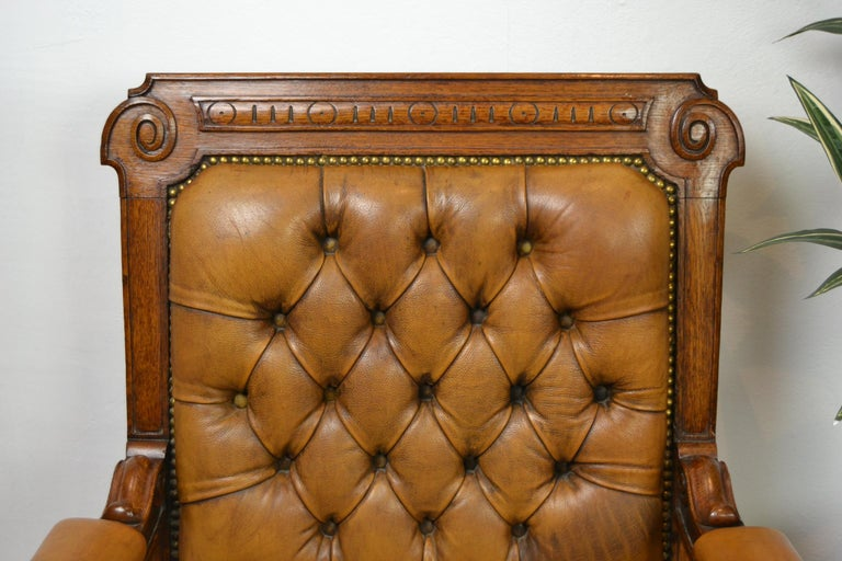 Two Leather Library Chairs, Leather Armchairs, Late 19th Century In Good Condition For Sale In Antwerp, BE