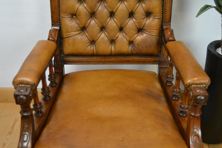 Brass Two Leather Library Chairs, Leather Armchairs, Late 19th Century For Sale