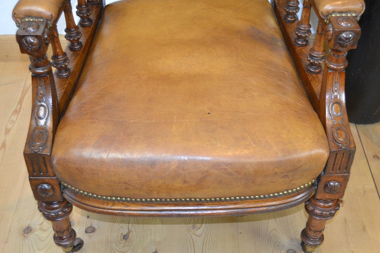 Two Leather Library Chairs, Leather Armchairs, Late 19th Century For Sale 1