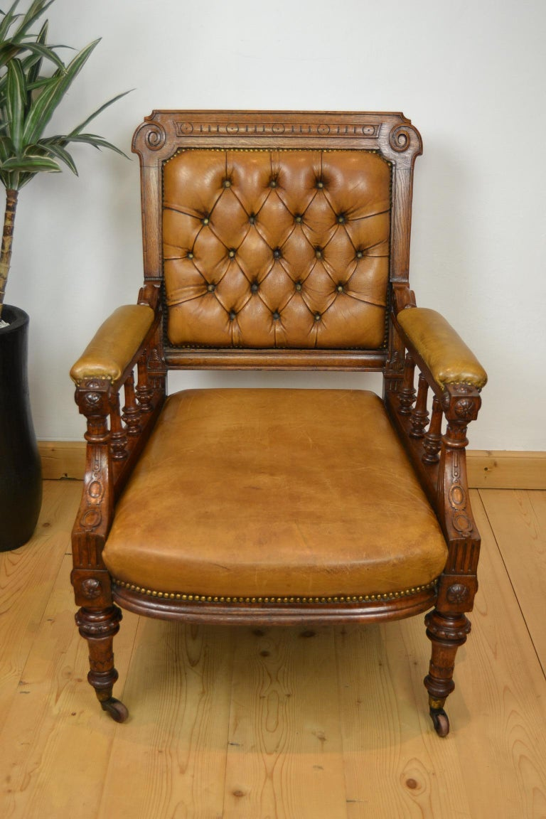 Two Leather Library Chairs, Leather Armchairs, Late 19th Century For Sale 2