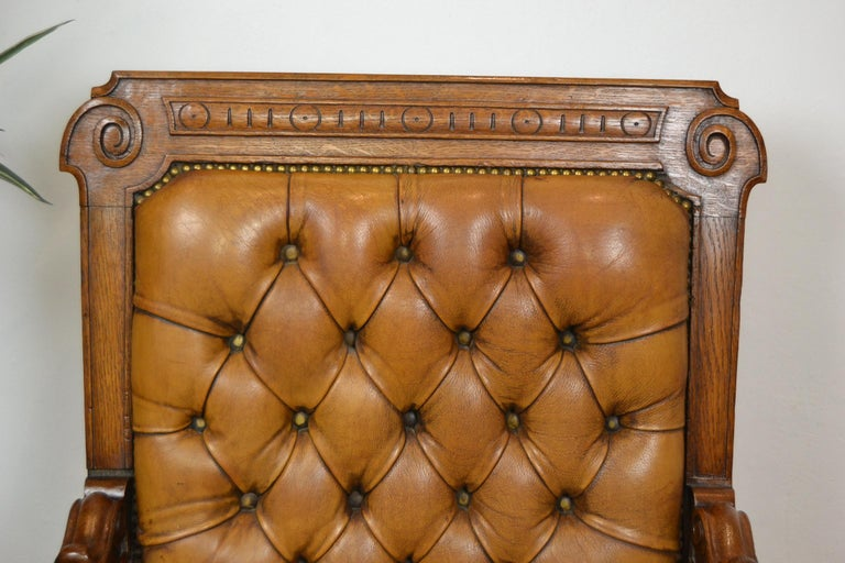 Two Leather Library Chairs, Leather Armchairs, Late 19th Century For Sale 3