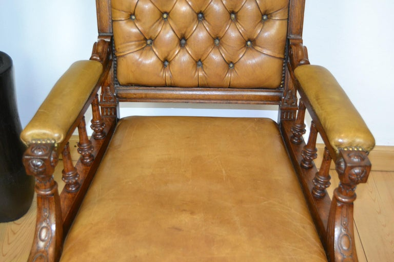 Two Leather Library Chairs, Leather Armchairs, Late 19th Century For Sale 4
