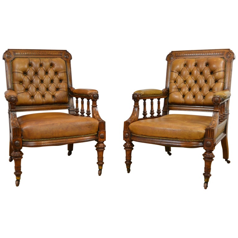 Two Leather Library Chairs, Leather Armchairs, Late 19th Century For Sale