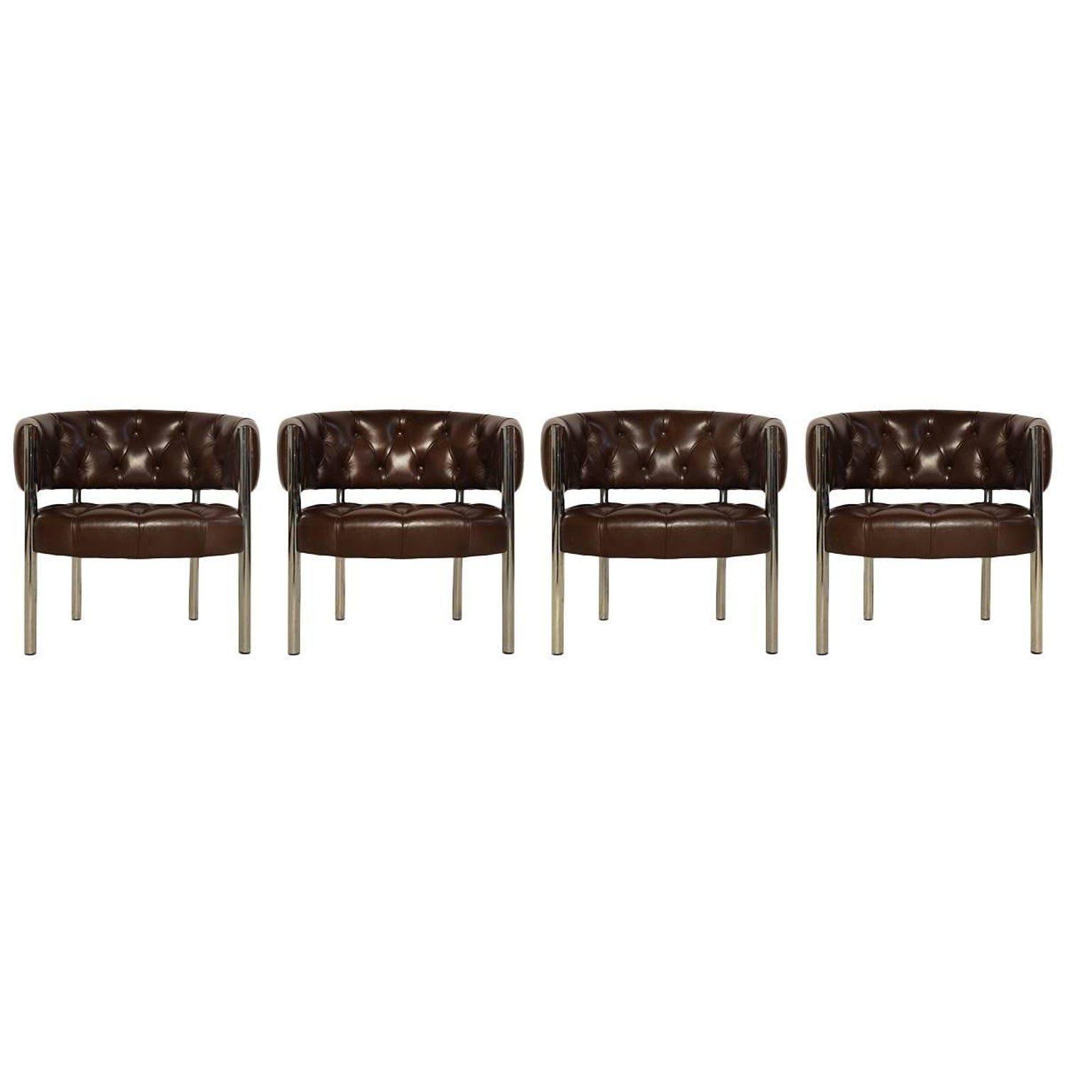 Two Leather Lobby Chairs By Trix And Robert Haussmann For Tirker 1960s At 1stdibs