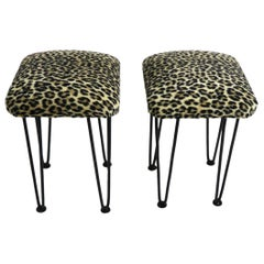 Two Leopard Upholstered Footrest Ottoman Stools on Iron Hairpin Legs