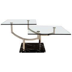 Two-Level Glass Coffee Table with Chrome Frame on Marble Base