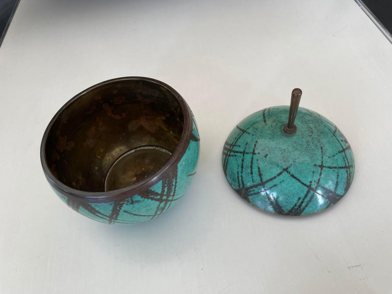Set of two lidded boxes by Paul Haustein for WMF Ikora. Coixzene, 1950s. Sphere box measures: 4