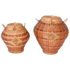 Two Lidded Wicker Baskets, Priced Individually