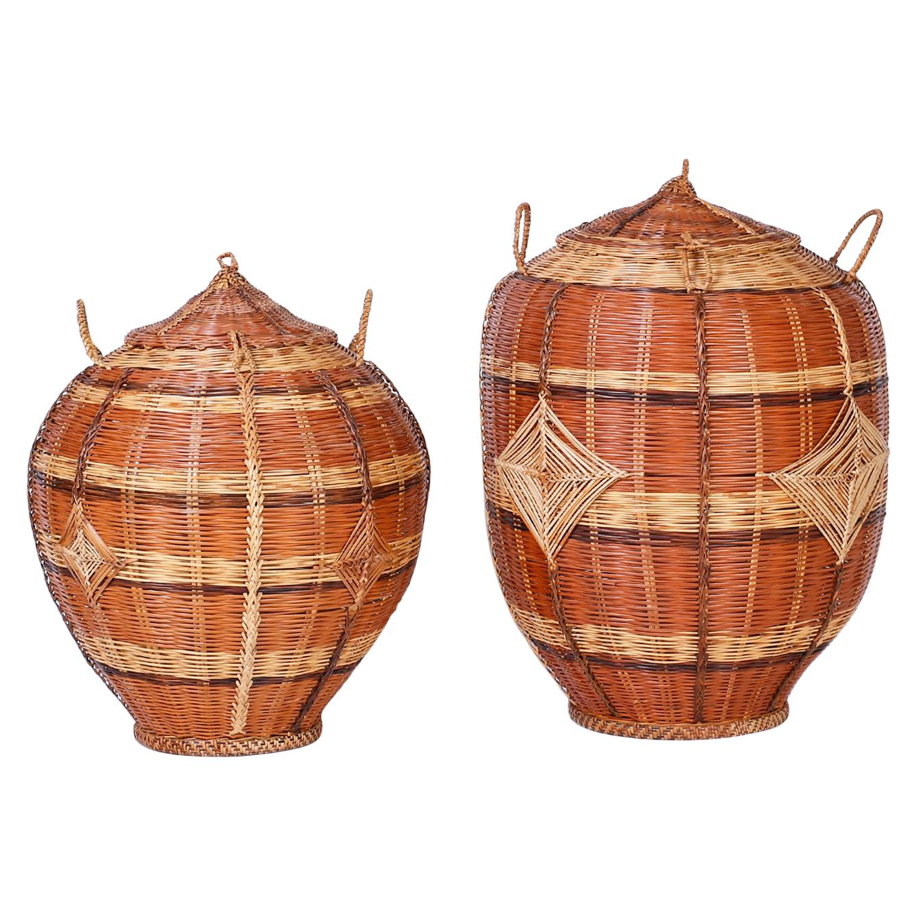 Two Lidded Woven Reed Baskets