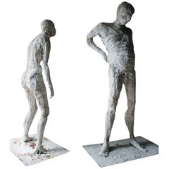 Two Life-Sized White Painted Plaster and Wirework Sculpted Figures