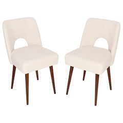 Two Light Crème Boucle 'Shell' Chairs, 1960s