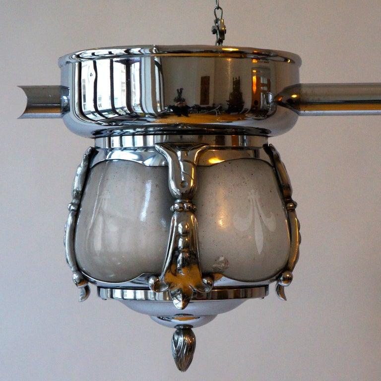 Italian Two-Light Rare Art Deco Flush Mount For Sale