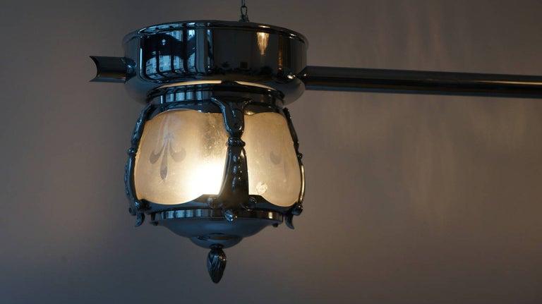 Metal Two-Light Rare Art Deco Flush Mount For Sale