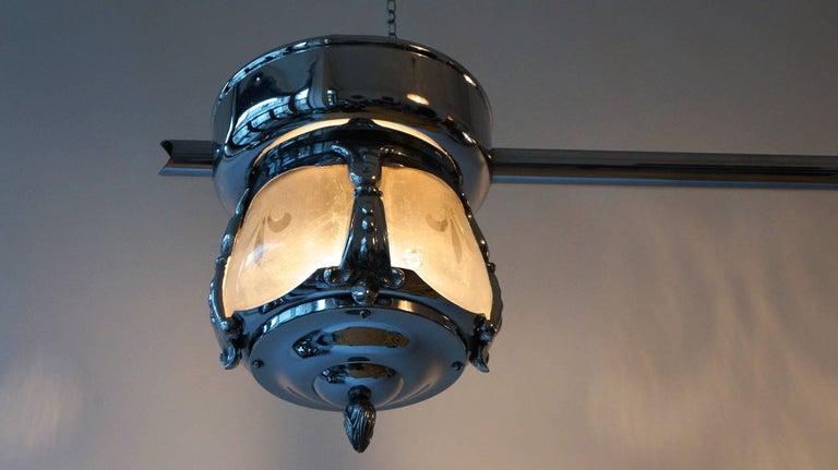 Two-Light Rare Art Deco Flush Mount For Sale 1