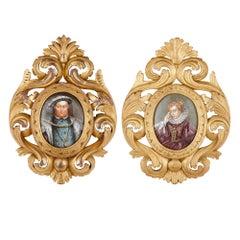 Two Limoges Enamel Paintings Including Portrait of Henry VIII