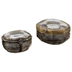 Two Little Rock Crystal Boxes with Silver Gilt Mounts, circa 1600