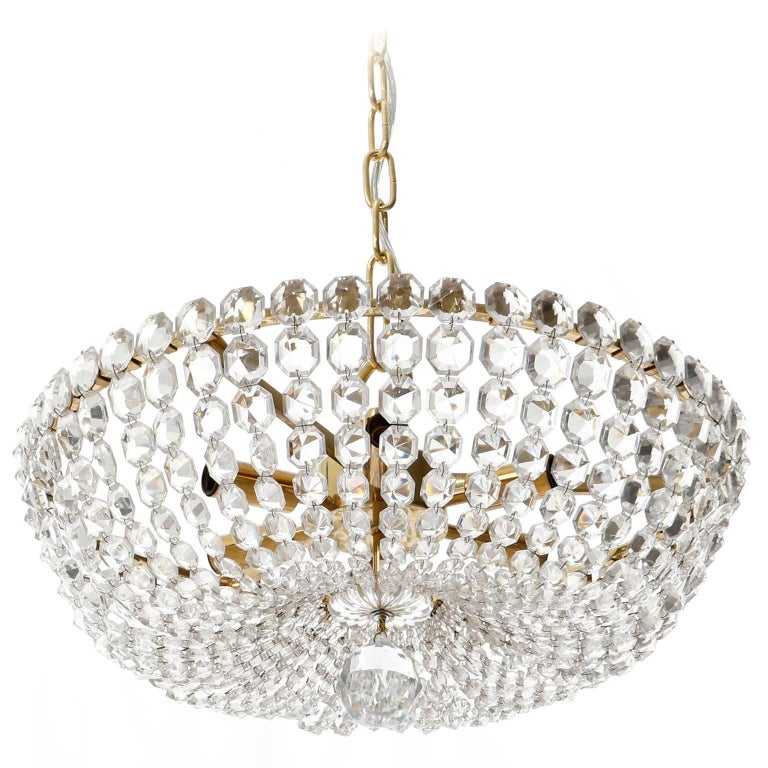 Mid-Century Modern Two Lobmeyr Pendant Lights Chandeliers No. 6276, Brass Crystal Glass, 1960 For Sale