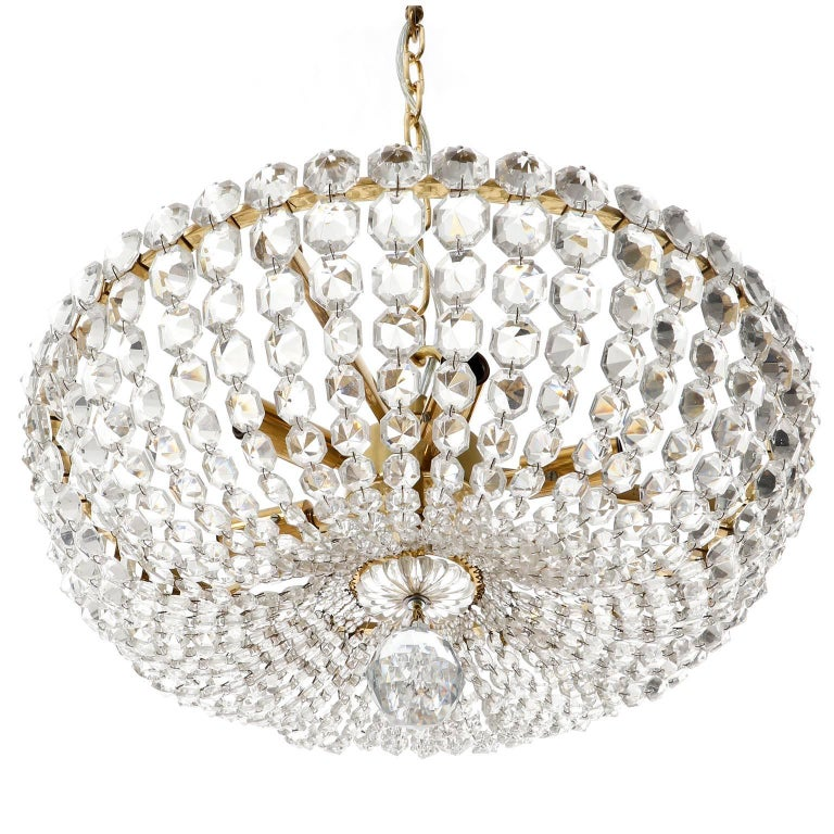 Austrian Two Lobmeyr Pendant Lights Chandeliers No. 6276, Brass Crystal Glass, 1960 For Sale
