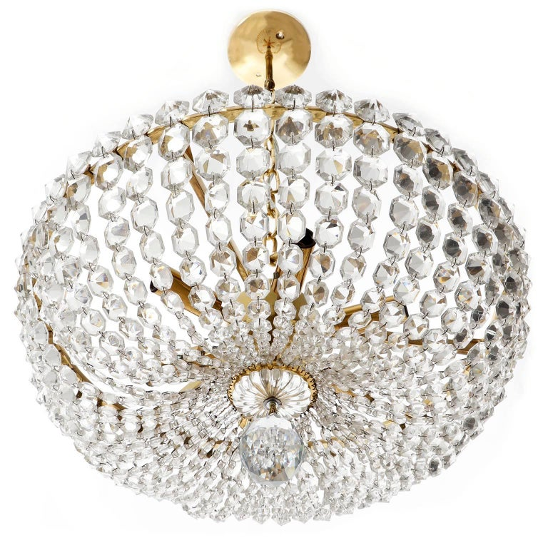 Two Lobmeyr Pendant Lights Chandeliers No. 6276, Brass Crystal Glass, 1960 In Excellent Condition For Sale In Vienna, AT