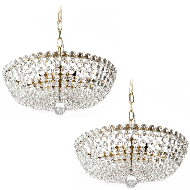 Two Lobmeyr Pendant Lights Chandeliers No. 6276, Brass Crystal Glass, 1960 For Sale