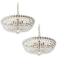 Two Lobmeyr Pendant Lights Chandeliers No. 6276, Brass Glass, Austria, 1960