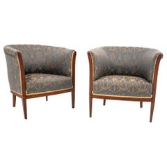 Two Louis Phillipe Bergere Armchairs, Northern Europe, circa 1920, after Renovat