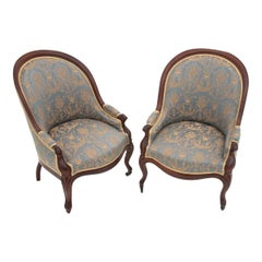 Two Louis Style Blue Armchairs