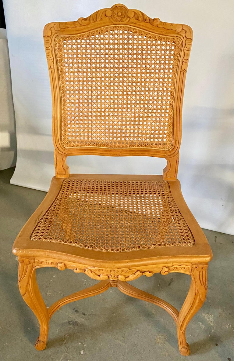 French Two Louis XV Provincial Country Style Caned Seat Dining Chairs For Sale