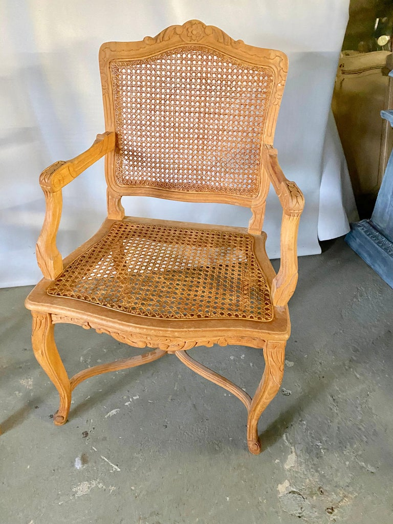 Carved Two Louis XV Provincial Country Style Caned Seat Dining Chairs For Sale