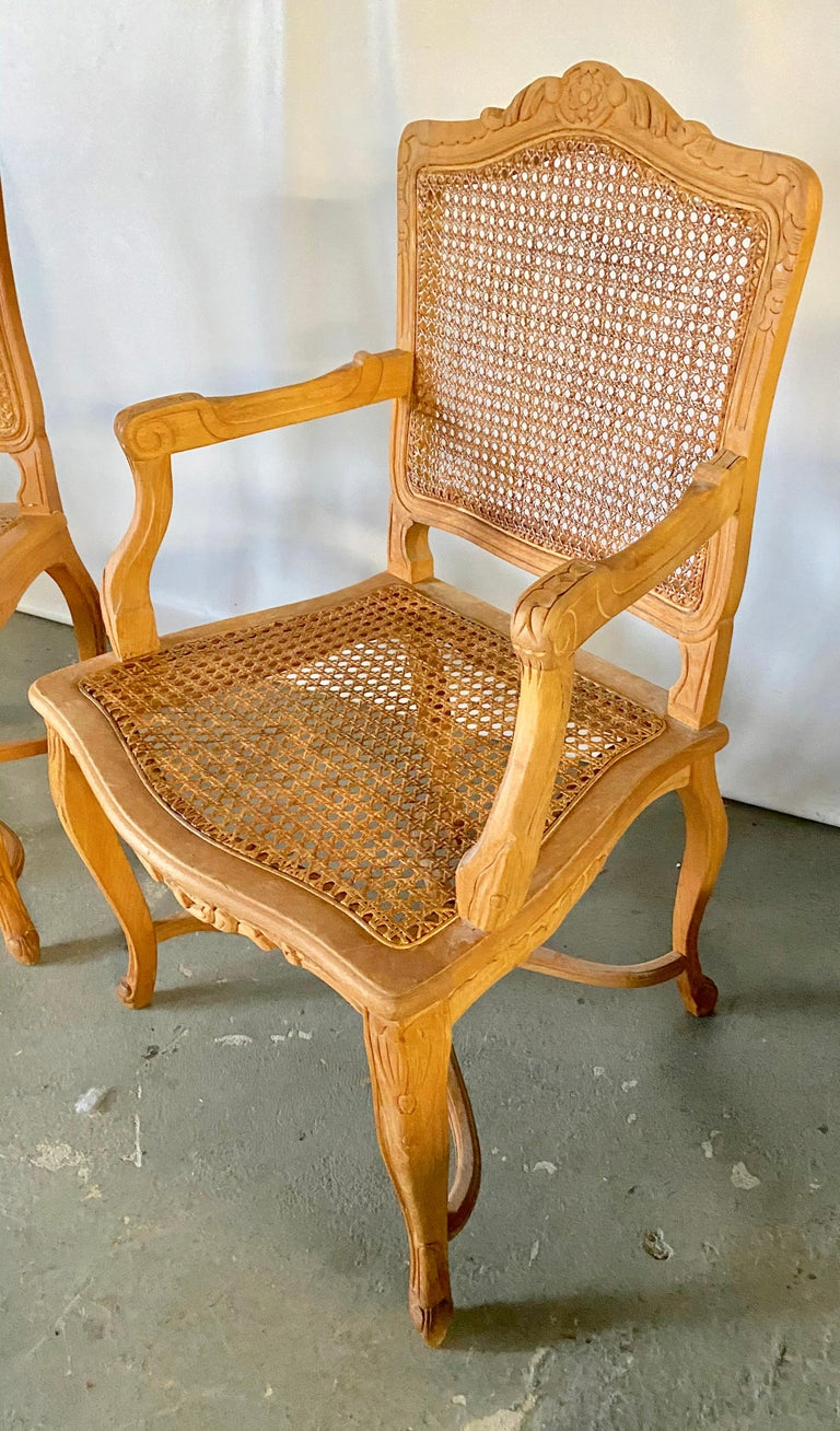 Two Louis XV Provincial Country Style Caned Seat Dining Chairs In Good Condition For Sale In Great Barrington, MA