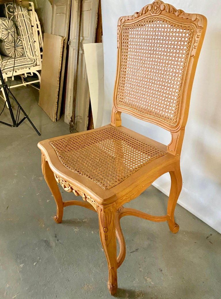 20th Century Two Louis XV Provincial Country Style Caned Seat Dining Chairs For Sale