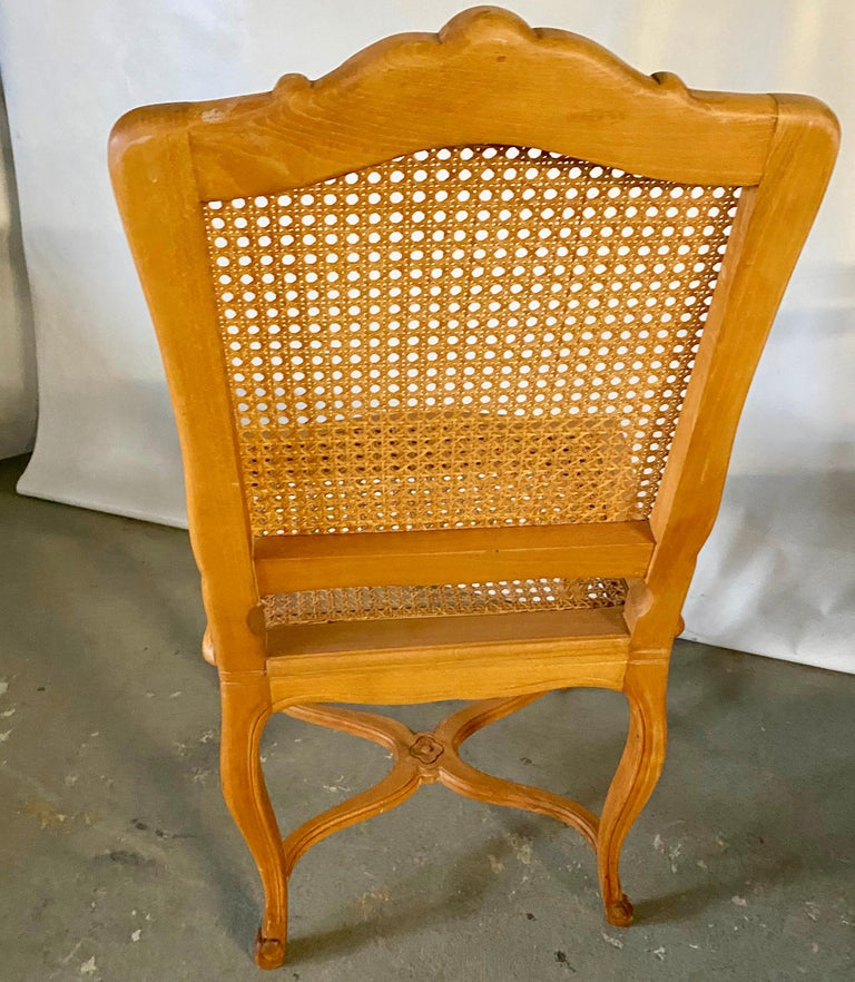Pine Two Louis XV Provincial Country Style Caned Seat Dining Chairs For Sale