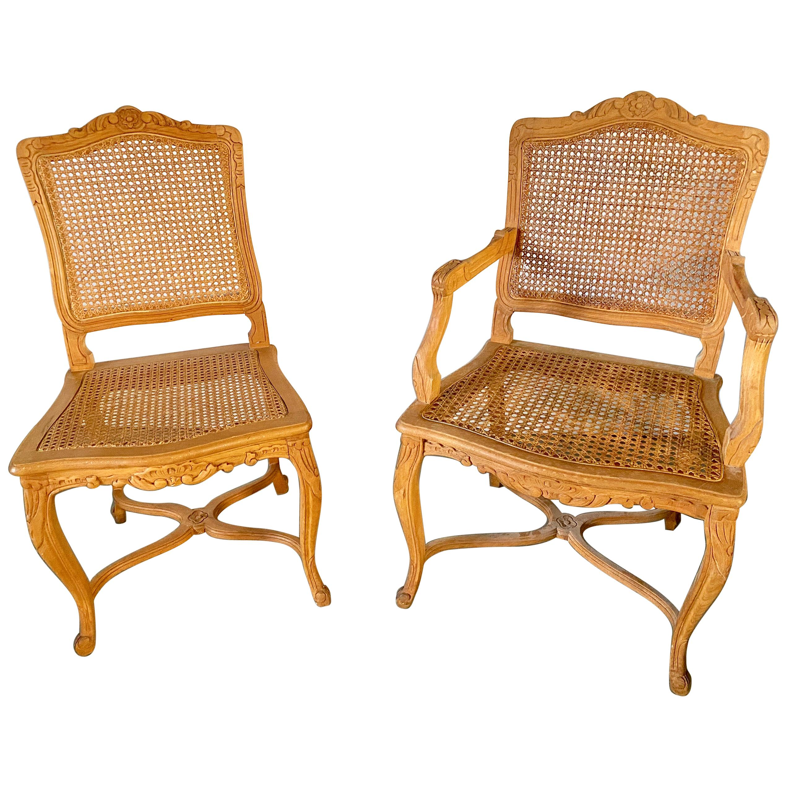 Two Louis XV Provincial Country Style Caned Seat Dining Chairs