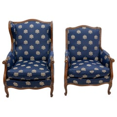 Two Louis XVI Style French Bergère Chairs