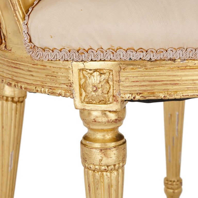 19th Century Two Louis XVI Style Giltwood Upholstered Fauteuil Armchairs For Sale