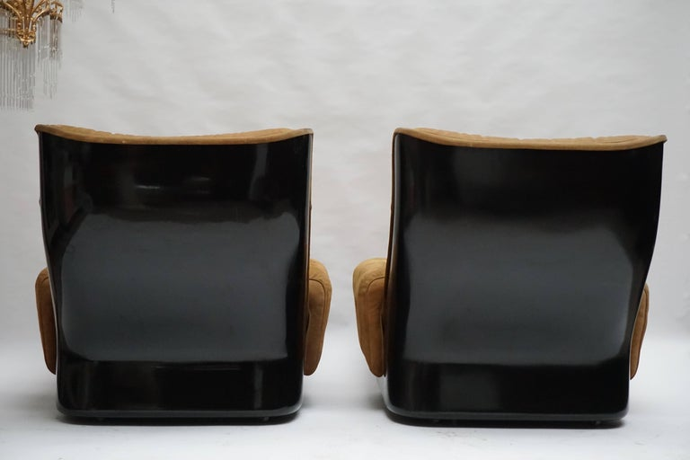 Leather Two Lounge Chairs by Airborne International, circa 1970s For Sale