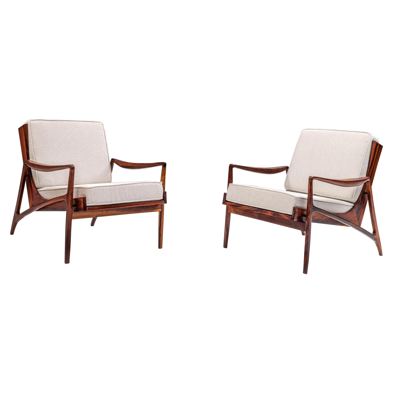 Two Lounge Chairs by Liceu de Artes e Ofícios in Jacaranda, 1950s, Brazil