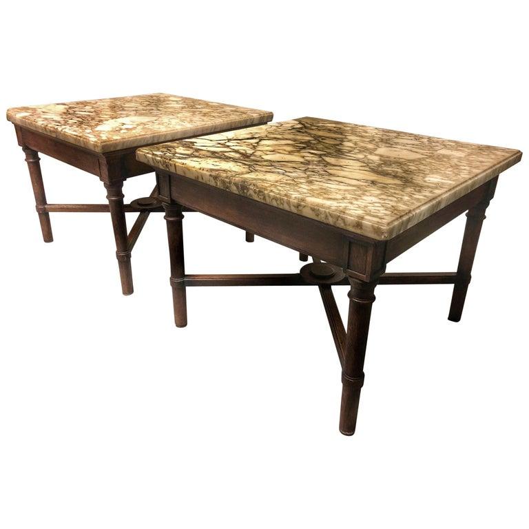Zwei Niedrige Quadratische Holz Marmor Tische Frankreich Circa