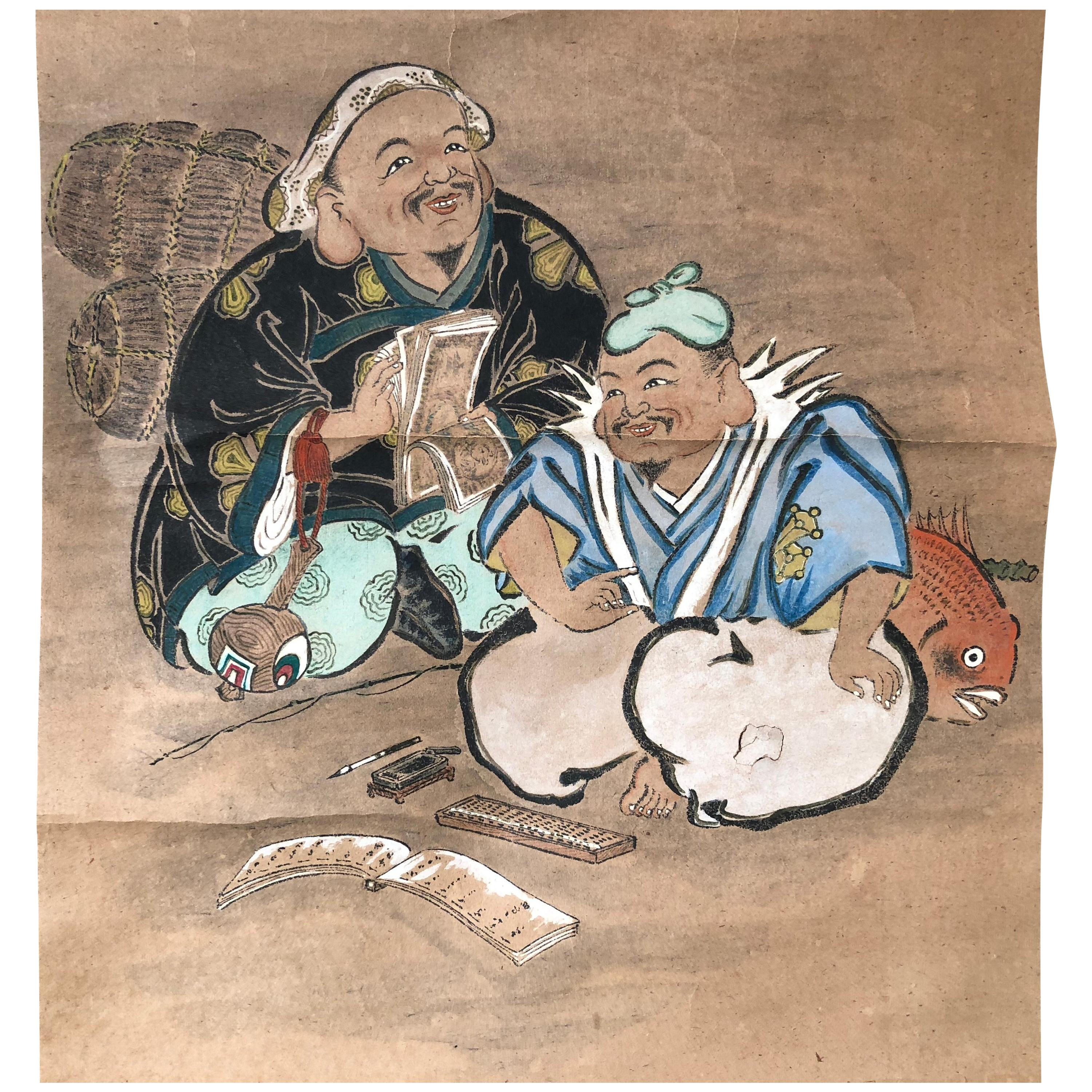 Japanese Antique Painted Scroll Two Lucky Old Friends