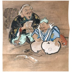 Two Lucky Old Friends Ebisu & Daikoko Japanese Antique Hand Painted Scroll
