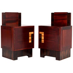 Two Mahogany Art Deco Haagse School Nightstands by 't Woonhuys, Amsterdam