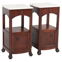 Two Mahogany French Art Nouveau Nightstands or Bedside Tables, 1900s